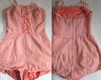 60s bathing suit . gingham ruffle bathing suit  . sealarks by Roxane . pin up bathing suit . peachy pink retro bathing suit . beach wear