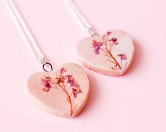 Ceramic Heart Flower Necklace