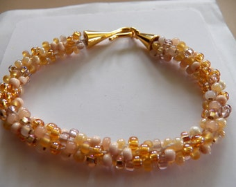 Rose Champagne Mix  Kumihimo Bracelet, Czech Glass  Beaded Bracelet, Gold, Topaz, Rose, Pearl, Bone, Matte, Pearly and Shiny Beads