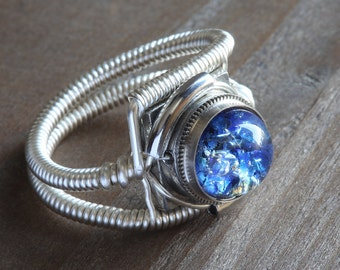 Steampunk Jewelry - Ring - Harlequin Blue Glass