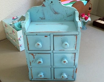 Antique Vintage Spice Cabinet Wall 6 Drawer Cabinet Painted Aqua Blue