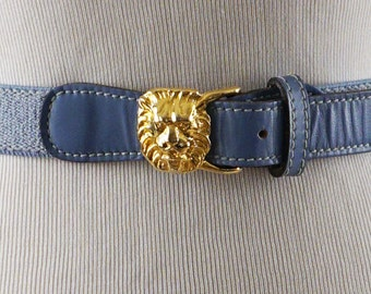 Vintage Anne Klein Baby Blue Leather Stretch Belt