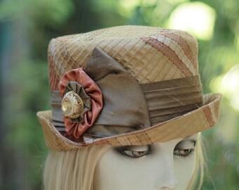 Bucket Hat Downton Abbey Steampunk Gold Copper Striped Silk Fabric