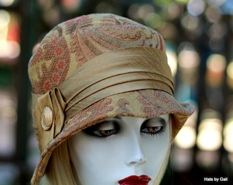 20's Cloche Chemo Hat Paisley Print Tapestry Fabric Neutral Gold and Coral Great Gatsby, Downton Abbey Vintage Style
