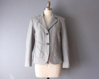 vintage wool blazer / 90s grey wool jacket / large