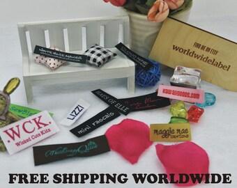 500 Custom letters Damask Woven Labels | custom made labels | sew on labels | garment labels | fabric label | apparel label | designer label