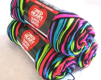 Red Heart Super Saver yarn  NEON STRIPES,  worsted weight,  Economy sized, rainbow bright, pink, red, lime, blue