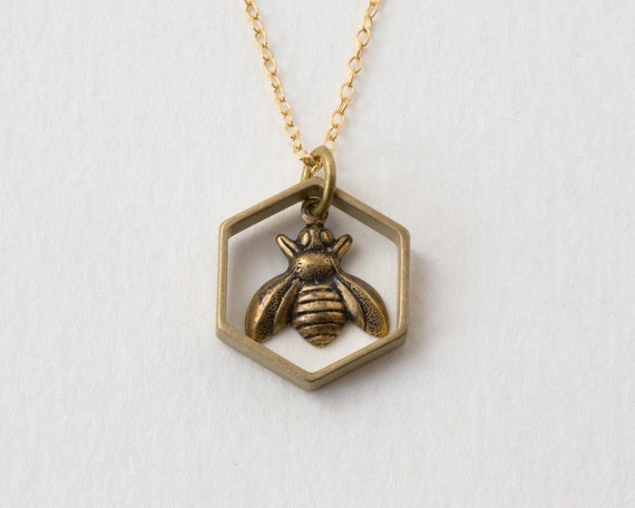 Bee Necklace - Bee Charm - Hexagon Charm Necklace - Honeybee Charm - Bee Jewelry - Sacred Geometry