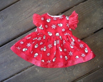 Doll Dress for American Girl or like sized 18 inch Doll Christmas Dress