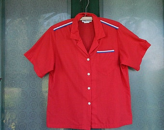 Lucky Winner Retro Bowling Shirt - Red White Blue - Size 15/16