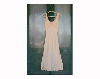 Vintage Long Glamorous Sexy Peachy SIlk Night Gown