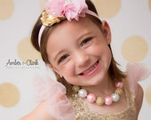 Pink and Gold Bubble Gum Necklace- Girls Necklace and Headband - Photo Prop- Baby Headband and Necklace Set