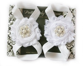 Baby Barefoot Sandals- Photo Prop- Baby Blessing Baby Shoes- Baby Baptism Girl Sandals- Barefoot Sandals White