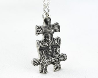 Fingerprint Necklace Puzzle Piece Personalized Sterling Silver Fathers Day Mothers Day Jewelry