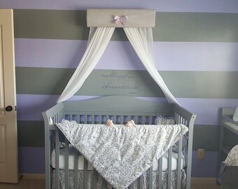 Bed Canopy Girl nursery baby bedroom Gray White Lavender Crown Tiara Princess valance cornice teester coronet So Zoey BoutiqueFREE SHIPPING