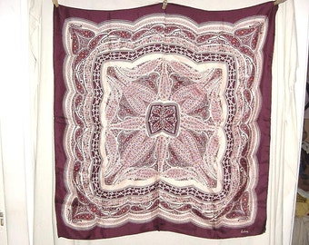 Vintage 50s Silk Paisley Print Brown Square Scarf Echo