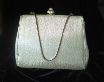 Classic Gold Lame Evening Bag with Rhinestone Clasp