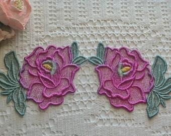 New Rose Design Hand Dyed Venise Lace Appliques, Trim Embellishment
