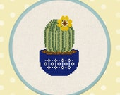 Cactus with Yellow Flower Blossom. Cross Stitch Pattern PDF File