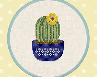 Cactus with Yellow Flower Blossom. Modern Simple Cute Counted Cross Stitch Pattern PDF File. Instant Download