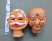 Old Man, Old Woman, Santa, Mr and Mrs Claus, Grandpa, Grandma, Painted Face Craft Destash Vintage Doll Craft Supplies Set Rubber