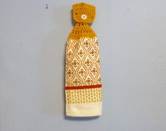 Uncut Crochet Button Top Hanging Kitchen Towel Double Layered White Orange Gold Rust Fall Colors