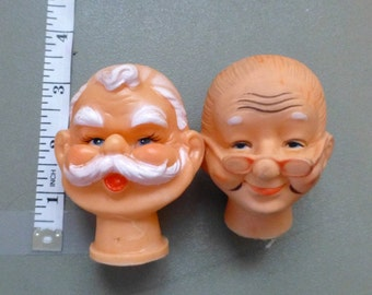 Old Man, Old Woman, Santa, Mr and Mrs Claus, Grandpa, Grandma, Painted Face Craft Destash Vintage Doll Craft Supplies Set Rubber