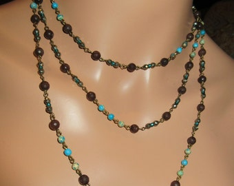 Long Colorful Stone Beaded Brass linked Necklace Boho, One of a Kind, Mocca Jade, Pyrite, Ocean Impression Jasper