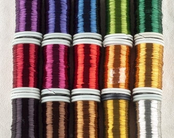 Craft supply Copper wire , 28 Gauge wire , wire crochet supply , pick your colors , 4 spools multicolors wire , non tarnish craft wires