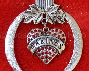 USMC Patriotic Military Marine Corps Christmas Tree Ornament stocking stuffer Holiday~Heart