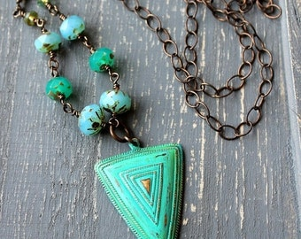 On SALE / CIJ Sale / Turquoise Long Necklace, Brass Pendant, Boho Necklace,Triangle Necklace, Beaded Necklace, Geometric Tribal