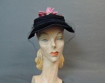 Vintage 1940s Black Straw & Velvet Hat with Pink Rose and Veil, Vintage Hat