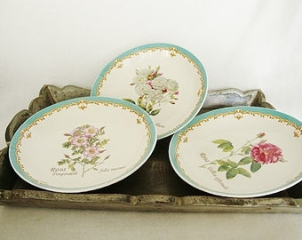 3  pottery tea saucers aqua botanical old rose garden cottage style