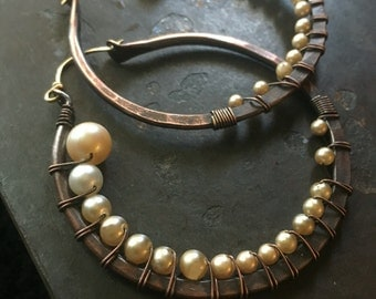 Wire Wrap Hoop Earrings Pearl Earrings Large Hoop Earrings Rustic Jewelry Daniellerosebean Big Hoops Copper Hoop Earrings