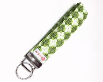 Green tile pattern keychain, key fob, key wristlet, key holder, key chain.  Lime green and white Moroccan tile pattern.