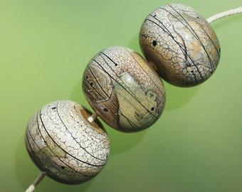 Organic set - Handmade Lampwork Hollow Beads Set SRA