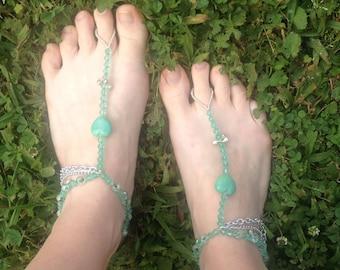Green Hearts Barefoot Sandals