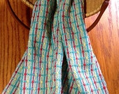 Handwoven Bread Cloth, Basket Liner, Hand Towel, Retro Kitchen, Dots and Dashes, Turquoise by Frederick Avenue