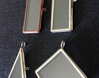 2 Glass Rectangle Hinged Locket Photo Picture Frame Pendant Diamond Shape Square  Triangle Brass