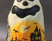 HAND CARVED Ghost with original Halloween painting from 100 year old Cottonwood Bark