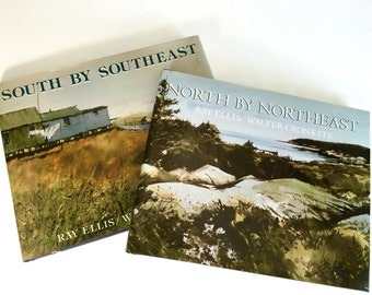 South by Southeast and North by Northeast by Walter Cronkite and Ray Ellis - Coastal Paintings Coffee Table Book Set