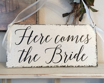 HERE COMES the BRIDE, Wedding Signs, Bride and Groom Signs, Mr. & Mrs. Signs, 7 x 15