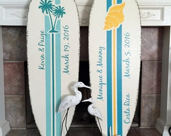 Guest Book Alternative, SURFBOARD SIGN, Wedding Signs, Beach Weddings, Palm Trees, Conch Shell, 4 ft tall - 48 x 15