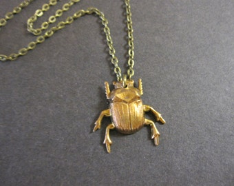 Beetle Necklace, Bug Jewelry, Insect Necklace, Beetle Pendant, Bugs, Brass Beetle, Woodland Bug, Gothic, Creepy, For Her, Nature Inspired