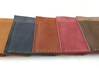 FREE SHIPPING, 6 Personalised Leather Card Holders