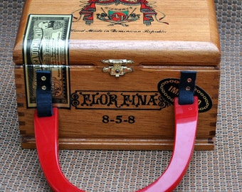 Flor Fina 8-5-8 Wooden Cigar Box Made Into a Box Purse - Red Handle possibly Bakelite - A. Fuente