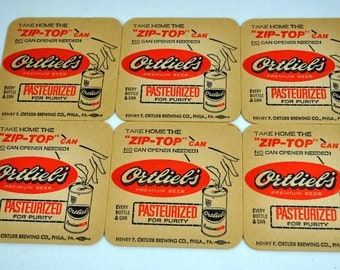 Ortlieb's Vintage Beer Coasters - Lot of 6 - New Old Stock