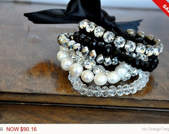 Sale -  NEW Collection Weddings Bracelet with Pearls and Rhinestones brides bridesmaids