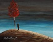 SALE Original Painting, ERBACK Art, Girl, Child, Surreal, Fantasy, Modern, Feeling Your Love From Heaven, sad, serene, isnspirational