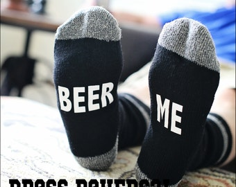 Beer Me Mens wool socks made to match women if you you can read this bring me a glass of wine